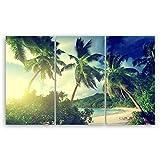 ge Bildet® Lienzo Amanecer en la Playa Takamaka, Mahé – Seychellen – 1947III, algodón, 165 x 100 cm 3 tlg.