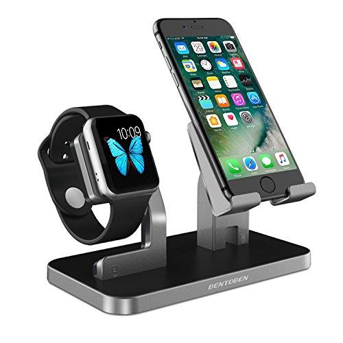 BENTOBEN iPhone XS Dock, iPhone iWatch Ladestation, Handy Halterung Ständer, iPhone Docking Station für iPhone XS Max XR 8 7 6 SE iPad Mini Smartwatch Samsung Huawei P20 Ständer Silber Grau