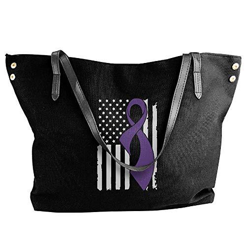 sghshsgh Umhängetaschen,Damenhandtaschen, Women's Pancreatic Cancer Awareness Flag-1 Canvas Shoulder Bag Handbags Tote Bag Casual Travel Bags (Windeln Größe 1 Bulk)