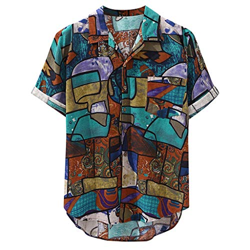 DOGZI Camisas Hombre - Algodón Lino Manga Corta Vintage