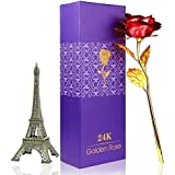 Saugat Traders Love Gift Set - Artificial Red Golden Rose & Eiffel Tower Decor, 7Inch (18cm) Metal Paris Eiffel Tower Statue