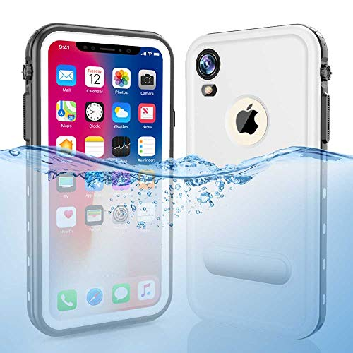 iPhone XR wasserdichte Hülle, ZERMU Colorfue Kickstand stoßfest schneefest IP68 Unterwasser Ganzkörperschutz Integrierter Displayschutz Unterwasser Wasserdicht Hülle für iPhone XR 6,1 Zoll 2018, weiß