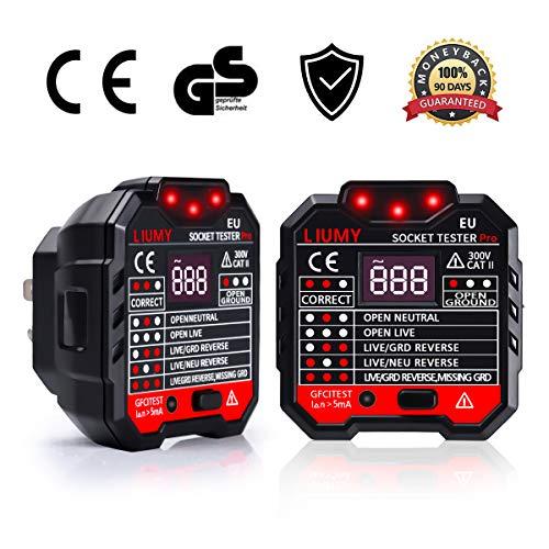 LIUMY Advanced Steckdosen Tester, LCD Display 7 verschiedene Schemen Anzeigen, Automatischer Stromkreis-Detektor Polaritätsprüfer für Leiter, RCD Hintergrundbeleuchtung -