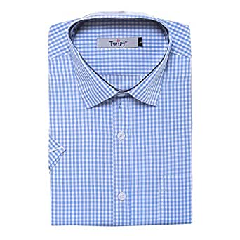 TWIST99 Men's Casual Cotton Plus Size Big Size Checks Chekered Shirt for Mens - Half Sleeves Shirts for Men - Regular fit Shirts for Men (M to 7XL) (L; Blue)
