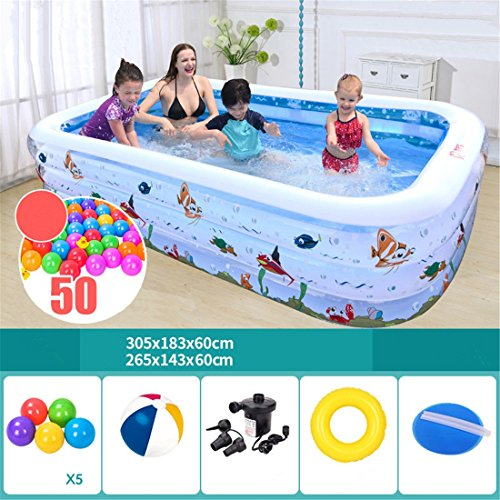 Thickened eco-friendly PVC family adult children swim folded inflatable square ocean fish swimming pool 305 * 183 * 60cm for 1-7 people
