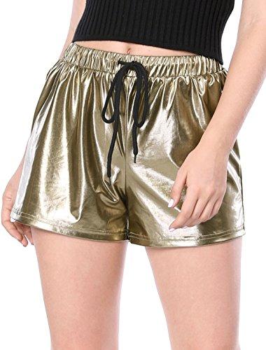 Allegra K Damen Kordelzug High Waist Metallic Kurze Hose Shorts, L (EU 44)/Dunkel Gold