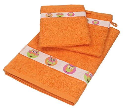 Betz 3 tlg. Baby Handtuch Set 100% Baumwolle 1 St. Kinderhandtücher 2 St. Waschhandschuhe EULEN Farbe: orange
