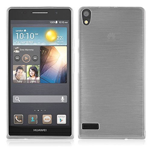 Cadorabo - Silikon TPU Schutzhülle für Huawei Ascend P6 Hülle Case Cover in Edelstahl-Optik gebürstet (brushed) in SILBER