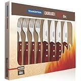 Tramontina 21198/759 - Juego de cubiertos para carne (tamaño grande, 8 piezas con mango rojo, remachado doble y triple)