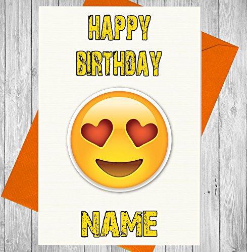 Personalisierte Emoji-Love Herz Augen Geburtstag Karte–Jeder Name und Alter Druck auf der Vorderseite Nerd-geschenk-korb