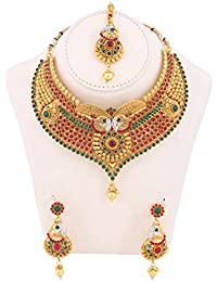 My Design Bridal Copper Designer Jewellery Necklace Set With Maang Tika