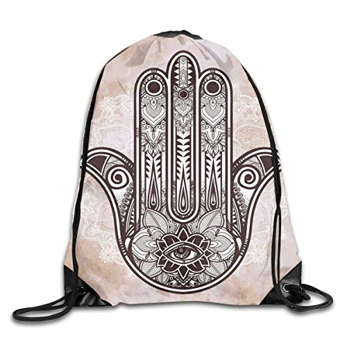 HLKPE Drawstring Backpacks Bags Daypacks,Eastern Asian Culture Esoteric Good Luck Charm with Round Mandala,5 Liter Capacity Adjustable for Sport Gym Traveling -