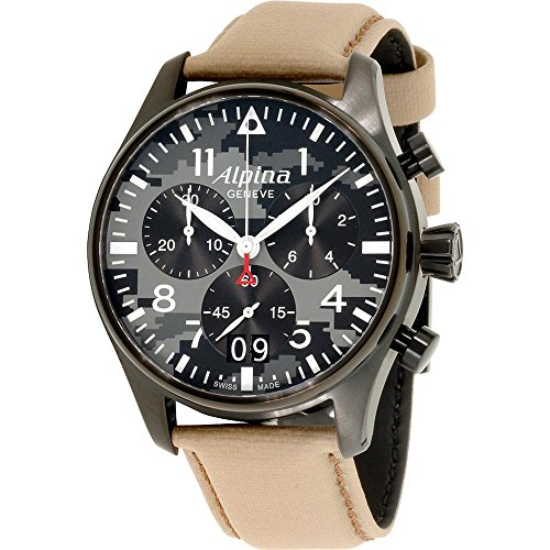 Alpina Men's Startimer 44mm Beige Leather Band Quartz Watch AL-372BGMLY4FBS6