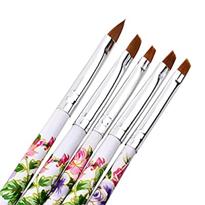 LHWY 5pcs UV Gel Acrylic Nail Art Brush Painting Pen Set Nail Design Manicure Tool