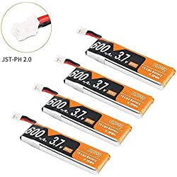 4pcs 600mAh 1S 3.7V LiPo batería 50C JST-PH 2.0 PowerWhoop Conector mCPX Recargable 1S LiPo Batería para Inductrix FPV Plus Tiny Whoop FPV Racing Drone etc.