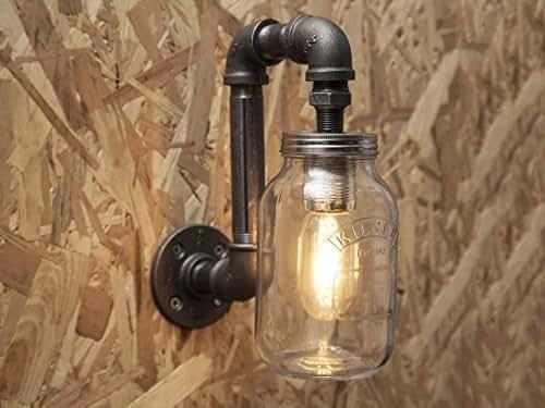 Kilner Jar Wall Lights : Black industrial iron pipe indoor wall light with Kilner jar: Amazon.co.uk: Handmade