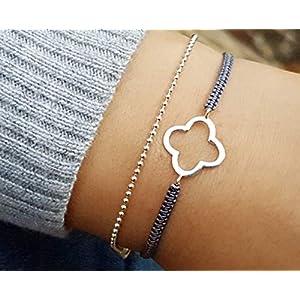 925 Armband Kleeblatt Kugelkette Glücksbändchen