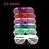 Mosie EL Leuchten Brille LED Leucht Partybrille 12er Pack Blinkend mit Farbwechsel Party Kostüm...