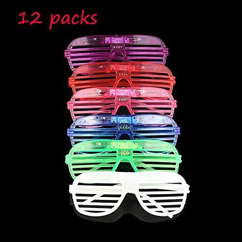 Mosie EL Leuchten Brille LED Leucht Partybrille 12er Pack Blinkend mit Farbwechsel Party Kostüm Disco Ball Clubs Geburtstagsfeiern Feste Festivals Kinder Spielzeug (Mit Einem Ball Kostüm)