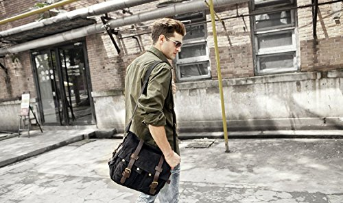 borsa zaino uomo tela forte a tracolla molto bello alla moda, alta qualita, colore cachi  nero