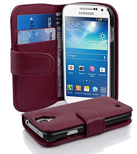 Cadorabo Hülle für Samsung Galaxy S4 MINI - Hülle in BORDEAUX LILA – Handyhülle mit Kartenfach aus struktriertem Kunstleder - Case Cover Schutzhülle Etui Tasche Book Klapp Style