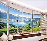 Fototapete Benutzerdefinierte 3D Wandbild Tapete Moderne Kreative Balkon Französisch Fenster Natur Landschaft Foto Tapeten Wohnzimmer Schlafzimmer Wohnkultur, 350 Cm X 245 Cm