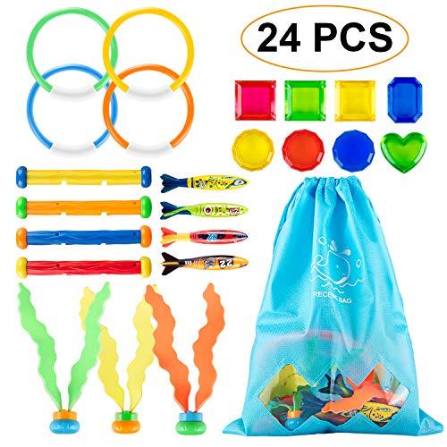 RenFox Unterwasser Tauchen Diving Set Kinder für Kinder Pool Unterwasser Schwimmen Schwimmbad Sommerpool 24PCS (Kinder-pool-stick)