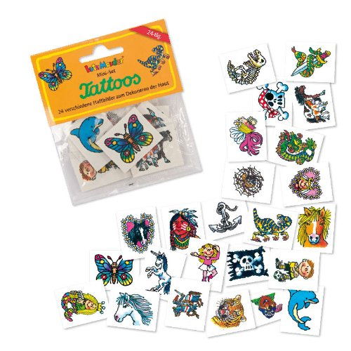 """24 Kindertattoos """"Gemischte Themen"""" von Lutz Mauder // Sticker Tattoo Kinder Fussball Tiere Mädchen Pirat Elfen Pferde Drachen Tiger"""