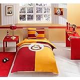 Fanartikel Galatasaray Logo Jugendbettwäsche Einzelbett Bettwäsche Bettdeckenbezug(160x220cm), Bettwäsche 100% Baumwolle mit Bettbezug, Spannbettlacke(100x200cm) und Kissenbezug(50x70cm)Made in der Türkei
