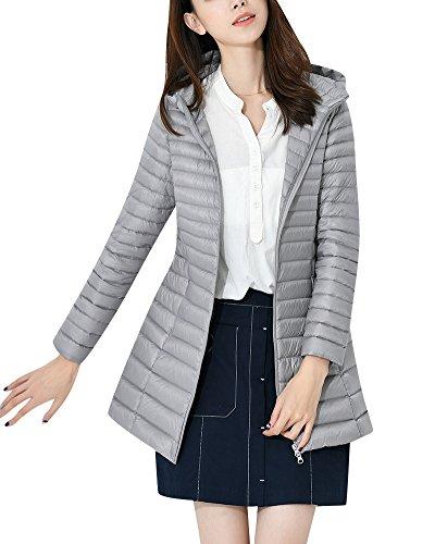 ZhuiKun Lunga Giacche Piumino Donna Ultraleggeri Cappotto Trapuntato Packable Giacca con Cappuccio Grigio XL