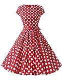 Dressystar Damen Vintage 50er Cap Sleeves Dot Einfarbig Rockabilly Swing Kleider Rot Weiß Dot B XS