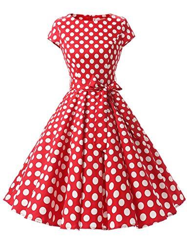(Dressystar Damen Vintage 50er Cap Sleeves Dot Einfarbig Rockabilly Swing Kleider Rot Weiß Dot B XS)