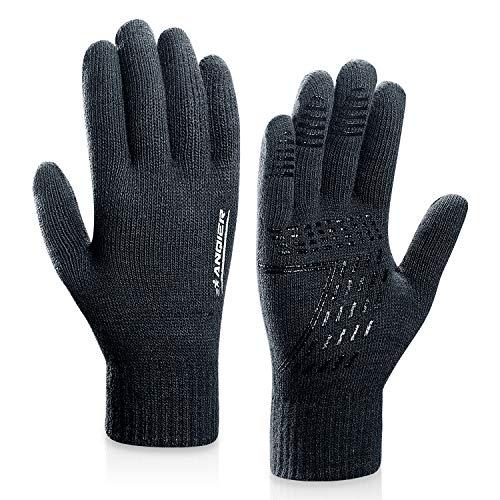 coskefy Winter Warm Gestrickte Touchscreen Handschuhe für Frauen Männer Gloves Wolle Ostern Weihnachten Sport Fahrrad Reiten Camping Wandern Laufen Arbeit Bequem (Herren, Grau) Warme Wolle Handschuhe