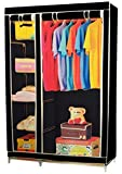 CheckSums (11982) 3.5 Feet Creative Black Cabinet,Easy Installation Folding Wardrobe Cupboard Almirah Foldable Storage Rack Collapsible Cloths Organizer-Brown
