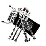 Pinceaux Maquillages, Chacca Kit Pinceaux de Maquillage 5 pièces, Design Baguette Magique Harry Potter Look fantaisie avec fins cheveux, Argent Noir