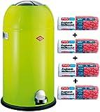 Wesco Kickmaster 33-Liter Mülleimer limegreen + 56 Stück optimal passende Müllbeutel