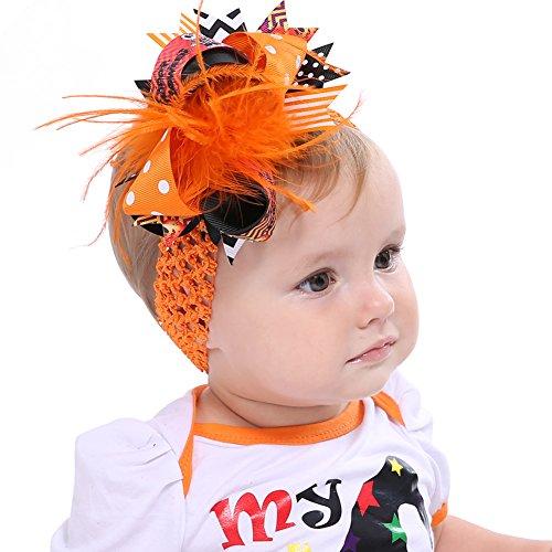 Butterme Feather Bogen Halloween Baby Stirnbänder Mit Clip Mädchen Haar Bögen Neugeborenen und Säugling Elastische Stirnbänder Haarspangen (Kostüme Halloween Mädchen Einzigartige)