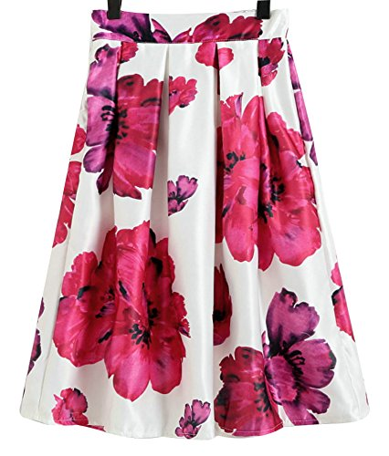 CoutureBridal® Damen Röcke Retro Sommerrock A-linie Minirock Blumenmuster Röcke Farbe-97