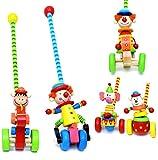 1 Stück _ Schiebefigur aus Holz - ' lustiger Clown / Tiere ' - watschel Bewegung ! - bewegliches Schiebetier / Figur - Watscheltier - Clowns - Ziehtier Ziehfigur Laufrad Watscheltier - Kinder - Holzschiebetier - Schiebelaufrad - Laufen lernen
