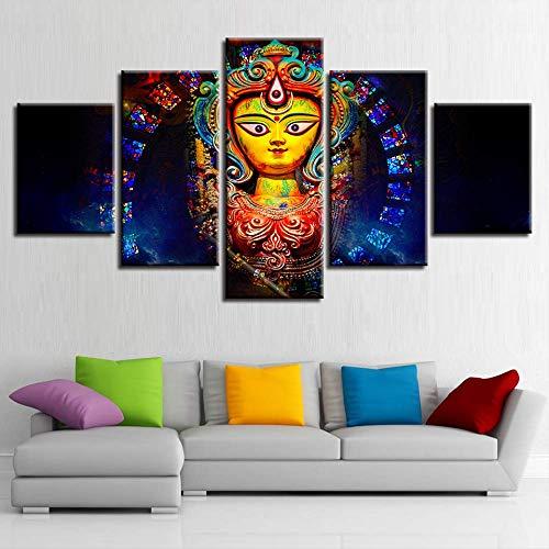 Leinwand Wandkunst Bilder Wohnzimmer Dekor 5 Stücke Indien Mythologie Göttin Durga Gemälde Wohnzimmer HD Gedruckt Poster Größe 2 Rahmen