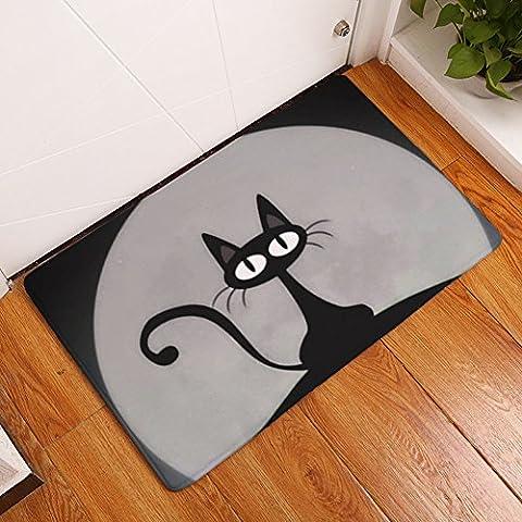 YJ Bear Black Cat Print Non Slip Floor Mat Coral Fleece Home Decor Carpet Indoor Outdoor Area Rug Rectangle Doormat Kitchen Floor Runner Gray 16