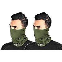 HeadTurners Neck Gaiter Headband Bandana Face Cover (Military Green, Pack of 2)