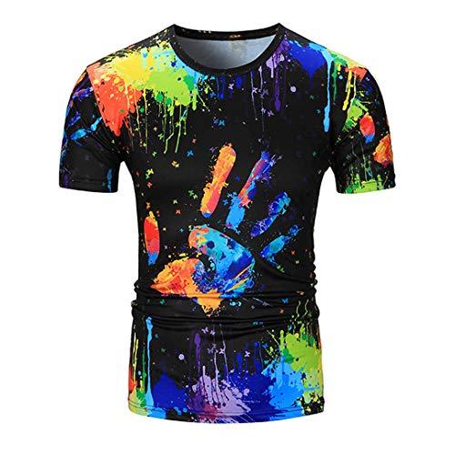Herren T-Shirts Unisex Oansatz Kurzarm 3D Aquarell Bunt Druckfarbe T-Shirts Blue M -