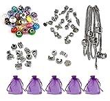 Luxbon Antik Silber Bettelarmband Geschenk set mit 5 Armbändern, 25 Muranoglas beads, 10 charms, 10 Anhängern, 5 Clip Verschlüsse, 5 Organzasäckchen Armband DIY Selbermachen ideal als Geschenk