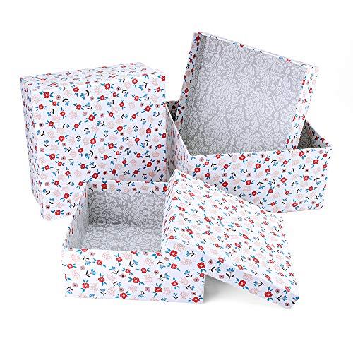 VEESUN Geschenkboxen 3 Set Verschiedene Größen, Luxus Präsentation Geschenkkarton mit Deckel, Dekorative Pappschachteln für Hochzeit Weihnachten Geburtstagsgeschenk Freund sie, Floral, MEHRWEG