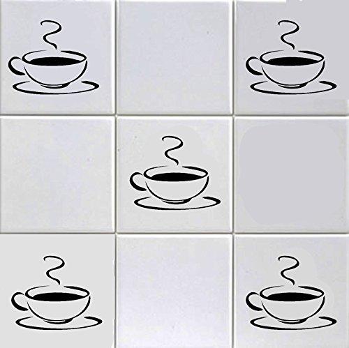 12Fliesenaufkleber mit dem Motiv einer dampfenden Kaffeetasse, für 15,2 cm lange Fliesen, für Küche, Hotel, Bar, Café Motiv Trim