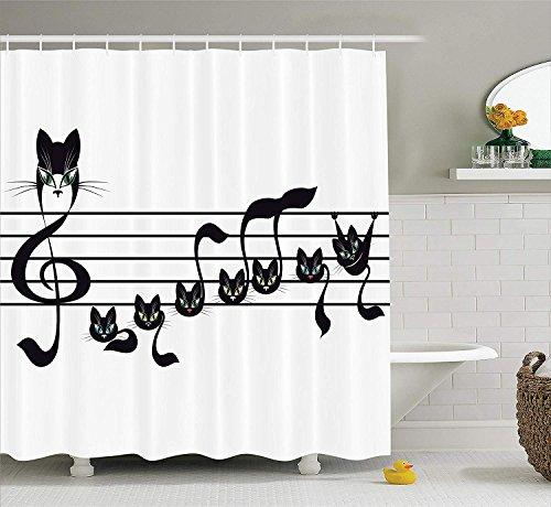 ción musical, notas Gatitos, gato, arte de notación, melodía, patrón de estilo de Halloween para niños, tela de poliéster, baño con cortina de ducha y ganchos, negro, azul y azul ()