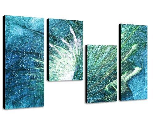Augenblicke Wandbilder Meeresrauschen Wellen – 130x70cm 4 teiliges Keilrahmenbild (30×70+30×50+30×50+30x70cm) abstraktes Wandbild mehrteilig Gemälde-Stil handgemalte Optik Vintage