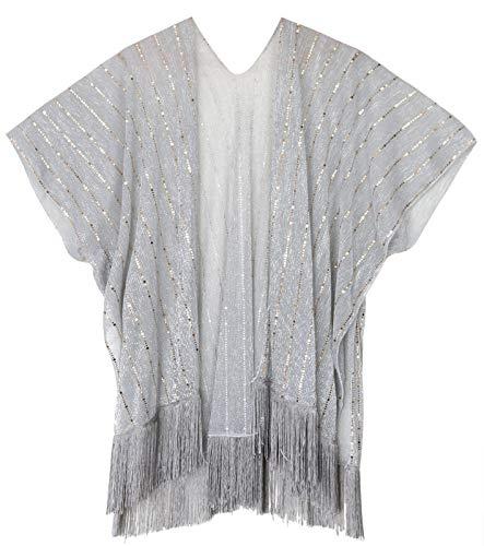 ten Shirt Schal Schal Party Party Achselzucken Shirt Bluse Jacke (Silber und Gold) ()