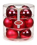 Christbaumkugeln Glas 75mm // Weihnachtskugeln Weihnachtsschmuck Weihnachtsdeko Baumkugeln Baumschmuck Christbaumschmuck Kugeln Glaskugeln Dose, Farbe: Bordeaux - Ochsenblut Glanz/matt